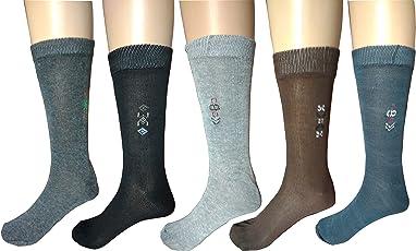 Vansh fashion Men's Cotton Combo Of 5 Calf Socks (,Multicolor,Free Size)