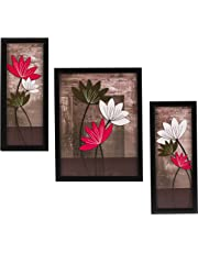 Indianara Floral Rectangular Synthetic Wood Art Painting (35 cm x 28 cm x 3 cm, Set of 3)