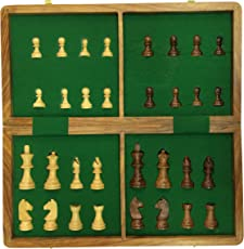 "PS Collectible Folding Wooden Chess Game Board Set with Magnetic Crafted Pieces , SIZE AVAILABLE : 7"",10"",12"",14"""