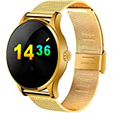 Smart Watch Stainless Steel Band For Android & iOS,Gold - K88h - VS33