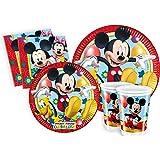Ciao- Kit Party Tavola Disney Mickey Mouse Club House per 24 Persone (112 pezzi: 24 piatti carta Ø23cm, 24 piatti carta Ø20cm