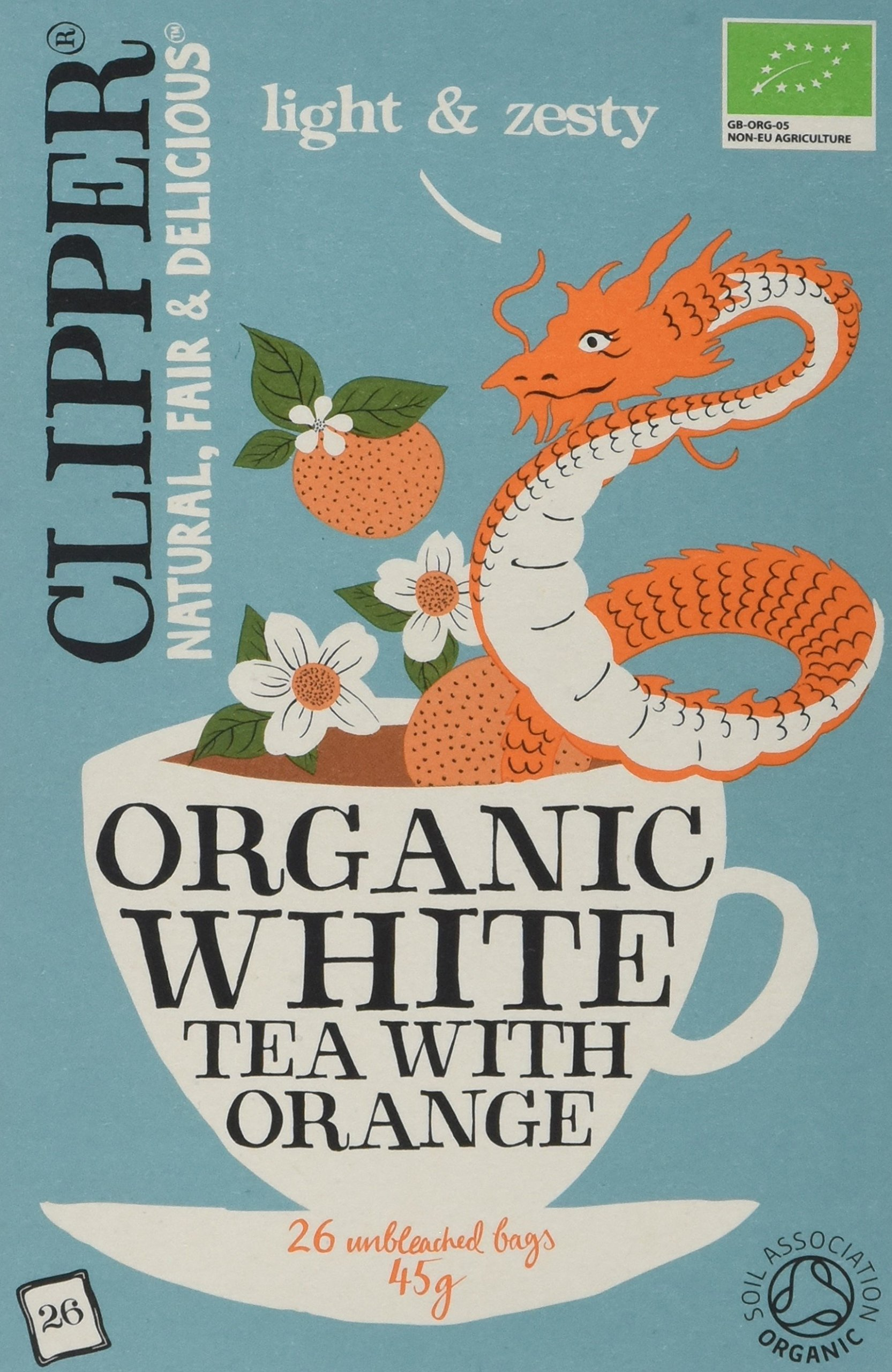 Clipper organic white tea bundle (soil association) (white tea) (6 packs of 26 bags) (156 bags) (a fruity tea with aromas of orange) (brews in 1-3 minutes)