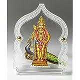 Eknoor Car Dashboard Idol- Goldplated- Lord Swami Kartikeya Ji with Peacock a.