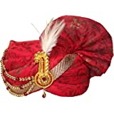 Krypmax Jodhpuri Men's Safa/Groom Pagdi/Turban for Marriage - Maroon Red
