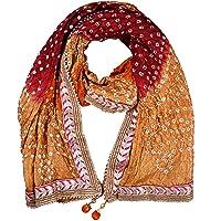 PK HUB Jaipuri Rajasthani Women Silk Bandhani Bandhej Single-Colored Heavy Dupatta with Gota Work and latkan