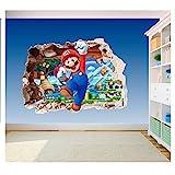 Super Mario Brothers Sticker en vinyle imprimé 3-3D pour chambre d'enfant Motif trou dans le mur 600 x 425 mm