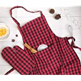 Pixel Home Cotton Apron100% Cotton Check Kitchen Apronwith Front Center Pocket (Apron with Oven Mitt)