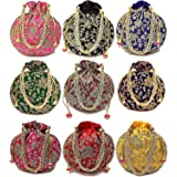 Rajasthani Look Women's Fashion Handmade Handbag Wristlets Ethnic Bridal Potli Batwa Bag Combo