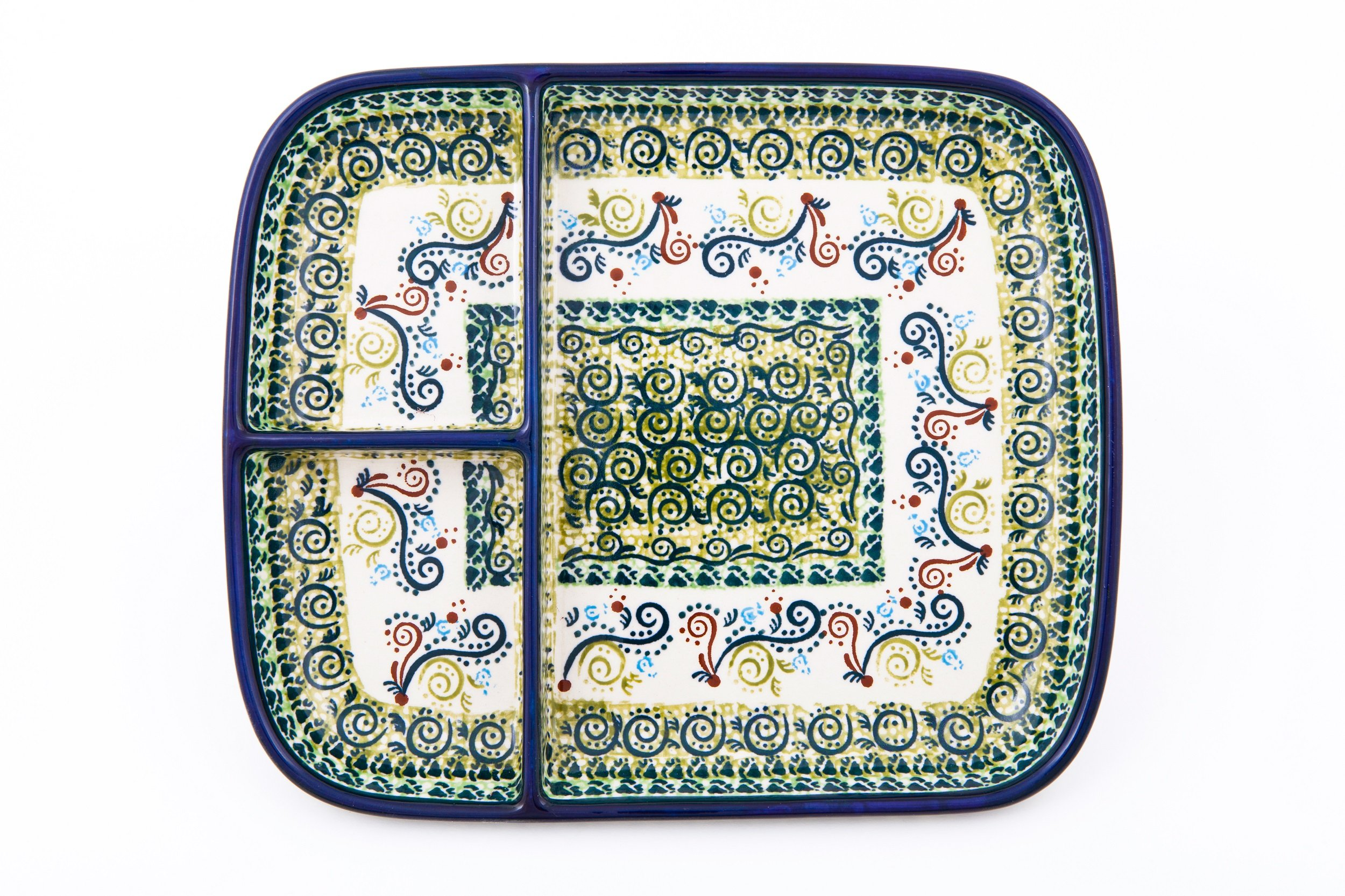 Hand-Decorated Polish Pottery Snack Plate with 3Compartments, 25.0×21.0cm Height 3cm, Dekor DU163