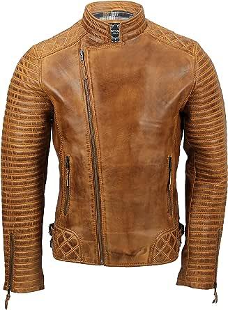 Mens Genuine Real Leather Biker Jacket Retro New Moto Cafe Style Cross Zip in Vintage Tan, Black