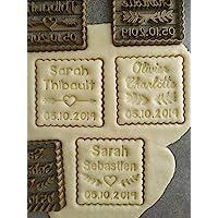 Emporte-pièce motif au choix - Petit Beurre carré - Personnalisable avec 2 Prénoms et date | Conçu et fabriqué en France