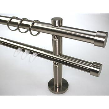 innenlauf gardinenstangen set 2 l ufig 20 mm in edelstahl optik nickel geb rstet 320. Black Bedroom Furniture Sets. Home Design Ideas
