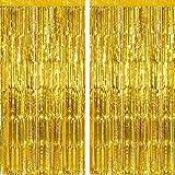 Vail Creations Gold Metallic Foil Curtains for Birthday Decoration/Metallic Curtains for Anniversary, Graduation, Retirement,