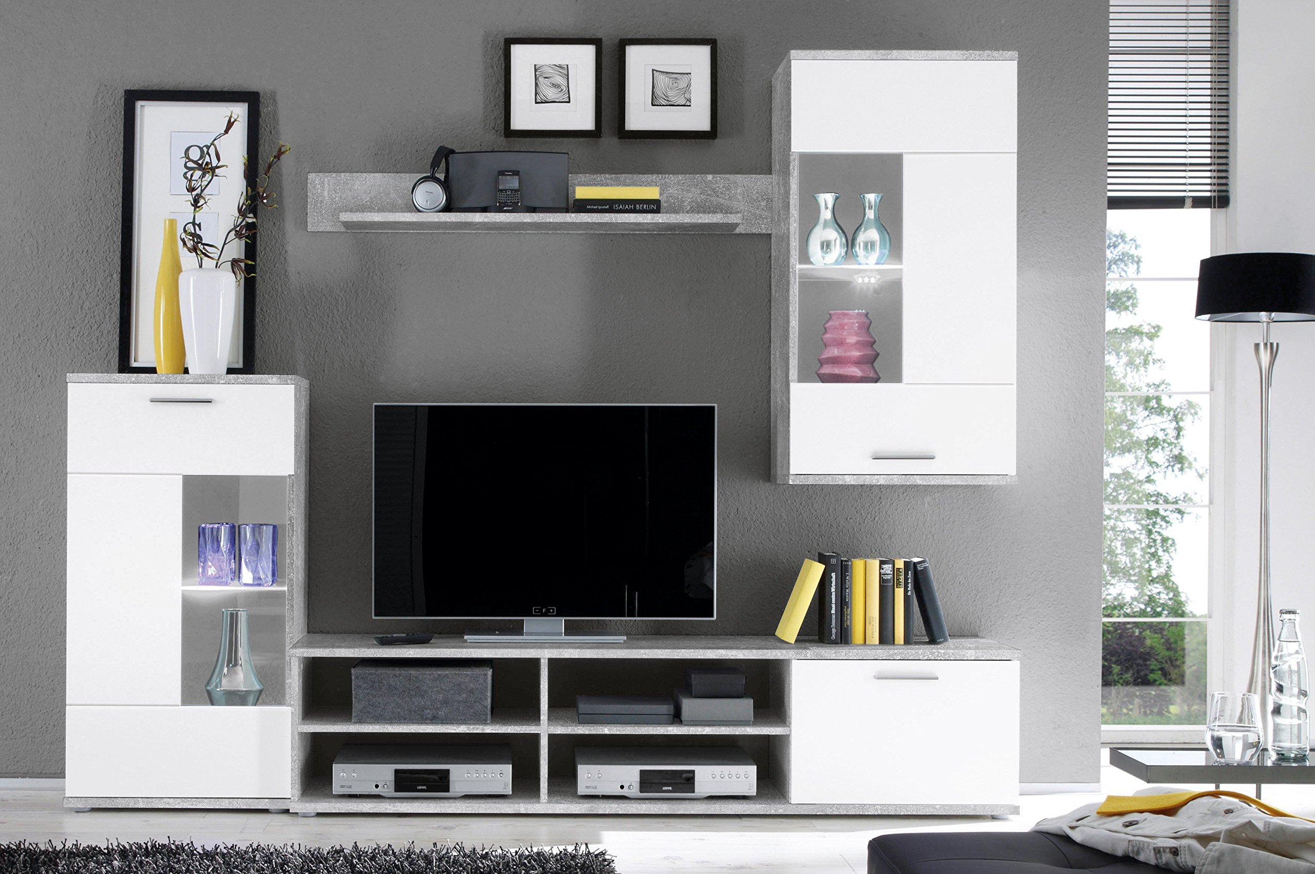 mobili porta tv da parete, bianca con vetrinette e luci a led.