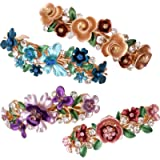 4PCS Colorful Vintage Flower Design Metal French Barrettes Hair Clasps Accessories Women Girls