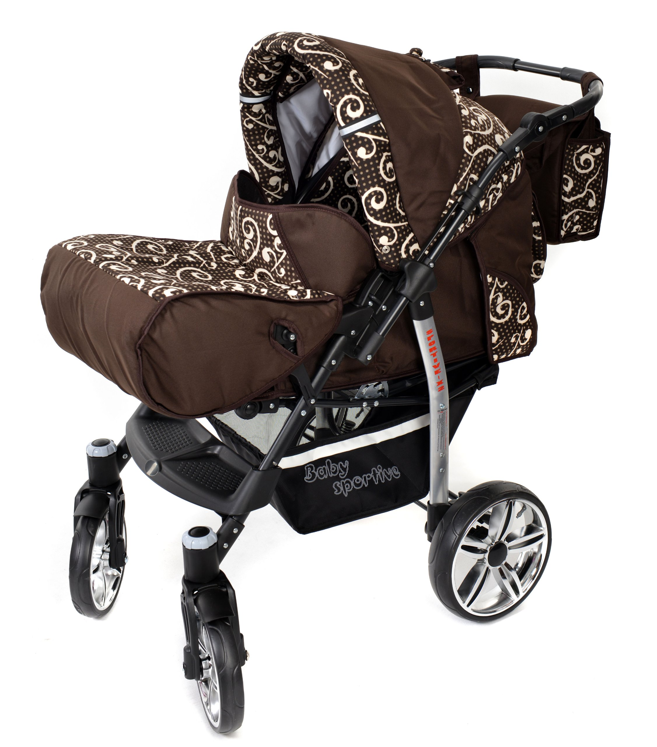 Sportive X2, 3-in-1 Travel System incl. Baby Pram with Swivel Wheels, Car Seat, Pushchair & Accessories (3-in-1 Travel System, Brown & Wawy Lines)  3 in 1 Travel System All in One Set - Pram, Car Carrier Seat and Sport Buggy + Accessories: carrier bag, rain protection, mosquito net, changing mat, removable bottle holder and removable tray for your child's bits and pieces Suitable from birth, Easy Quick Folding System; Large storage basket; Turnable handle bar that allows to face or rear the drive direction; Quick release rear wheels for easy cleaning after muddy walks Front lockable 360o swivel wheels for manoeuvrability , Small sized when folded, fits into many small car trunks, Carry-cot with a removable hood, Reflective elements for better visibility 3