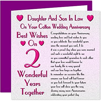 Daughter Son In Law 2nd Wedding Anniversary Card