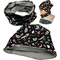HECKBO Set di berretto e sciarpa da bambino, double-face, motivo scheletro dinosauro, 2-8 anni, 95% cotone, morbido e…