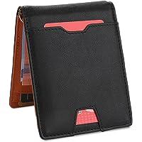 Herren Geldbeutel Geldbörse mit Geldklammer & Münzfach | RFID Blocker Kreditkartenetui Karten Portemonnaie | Dünne Brieftasche Portmonee für Männer