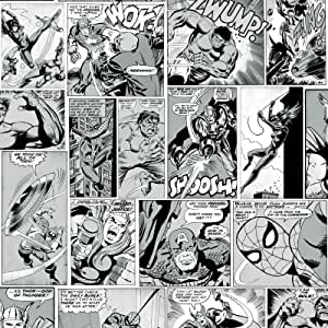 Marvel Comic Strip TapeteBlack and White Muriva 159502