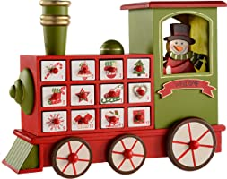 WeRChristmas Wooden Train Advent Calendar Christmas Decoration, 30 cm - Multi-Colour