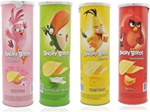 Angry Birds Potato Chips Mix Pack (100 gm Each) Sour Cream and Onion+Tangy Cheese+Sea Salt+Thai Style Pack of 4 Snacks Party Pack