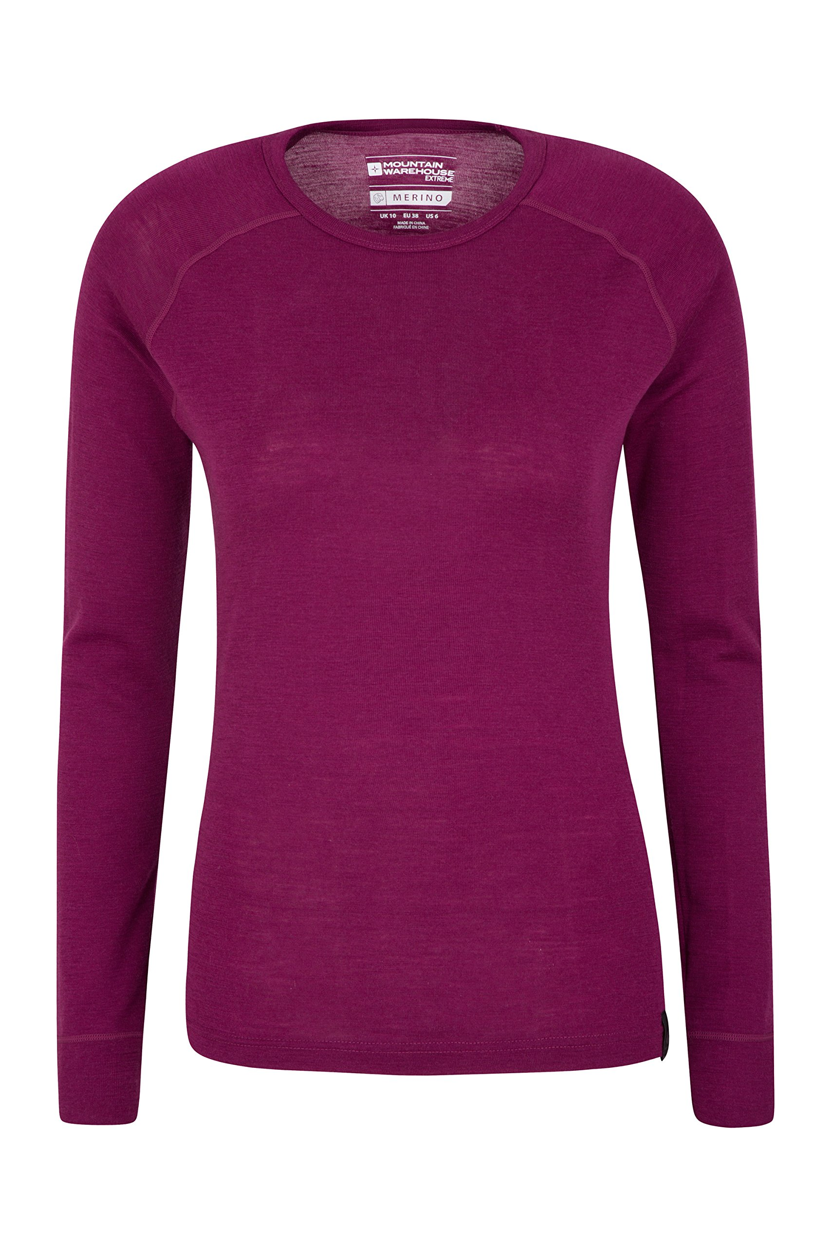 Mountain Warehouse Merino Womens Thermal Baselayer Top - Lightweight Tee Ladies Shirt, Breathable T Shirt, Antibacterial 1