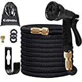 Kimyou Expandable Garden Hose 75ft | Lightweight Water Hose with 8 Function Nozzle | Durable 3750D triple latex hose pipe | 3