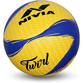 Nivia Twirl Volleyball, Size 4  Yellow/Blue