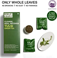 Onlyleaf Tulsi Green Tea, 27 Tea Bags with 2 Free Exotic Samples