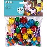 APLI 13062 - Sachet de 78 Pompons aux couleurs brillantes pour loisirs créatifs