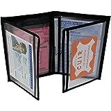 MAMJACK® - Porte Papier Voiture en Cuir - Format 4 Volets - étui Carte Grise, permis de Conduire, Carte d'identité, Assurance