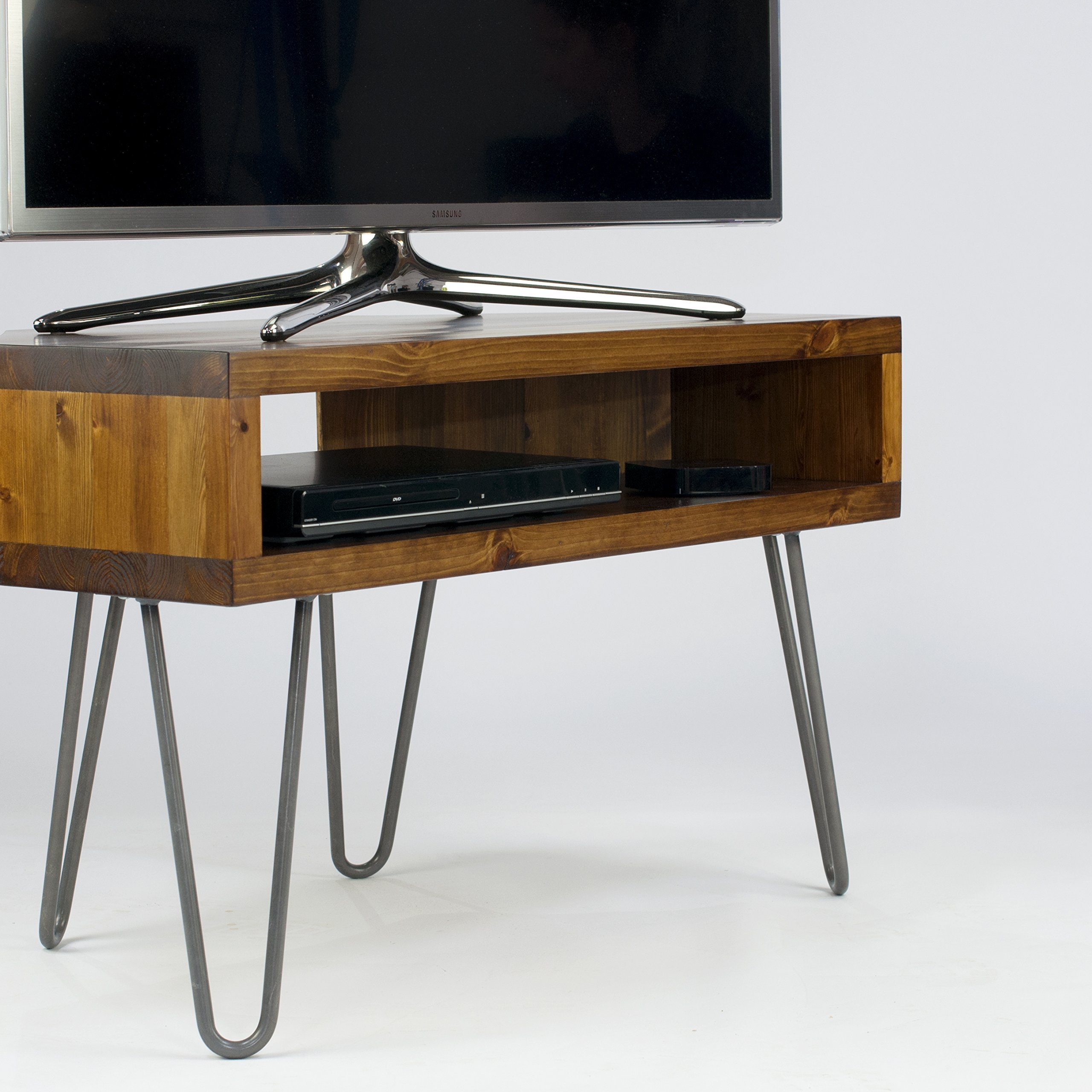 Vintage Retro Corner Corner Tv Stand Wmetal Hairpin Legs Solid Wood Rustic Unit Table