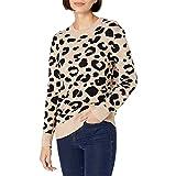 Marchio Amazon - Daily Ritual - Ultra-soft Leopard Jacquard Crewneck Pullover Sweater, pullover-sweaters Donna