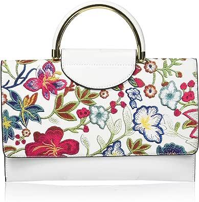 Mellow World Damen Primerose Hb27228, Vegan Leather Flower Pat Cb With Top Handle, Mag Snap Closure Umhängetasche, Einheitsgröße