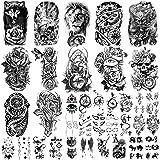 36 hojas de pegatinas de tatuajes temporales, 12 hojas de tatuajes falsos de cuerpo, brazo, pecho, hombro, tatuajes para homb