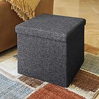 ALMAND 30X30X30 cm Folding Storage Ottoman Cube Footrest Stool Coffee Table Puppy Step Top Organizer Box Pouf Chest…