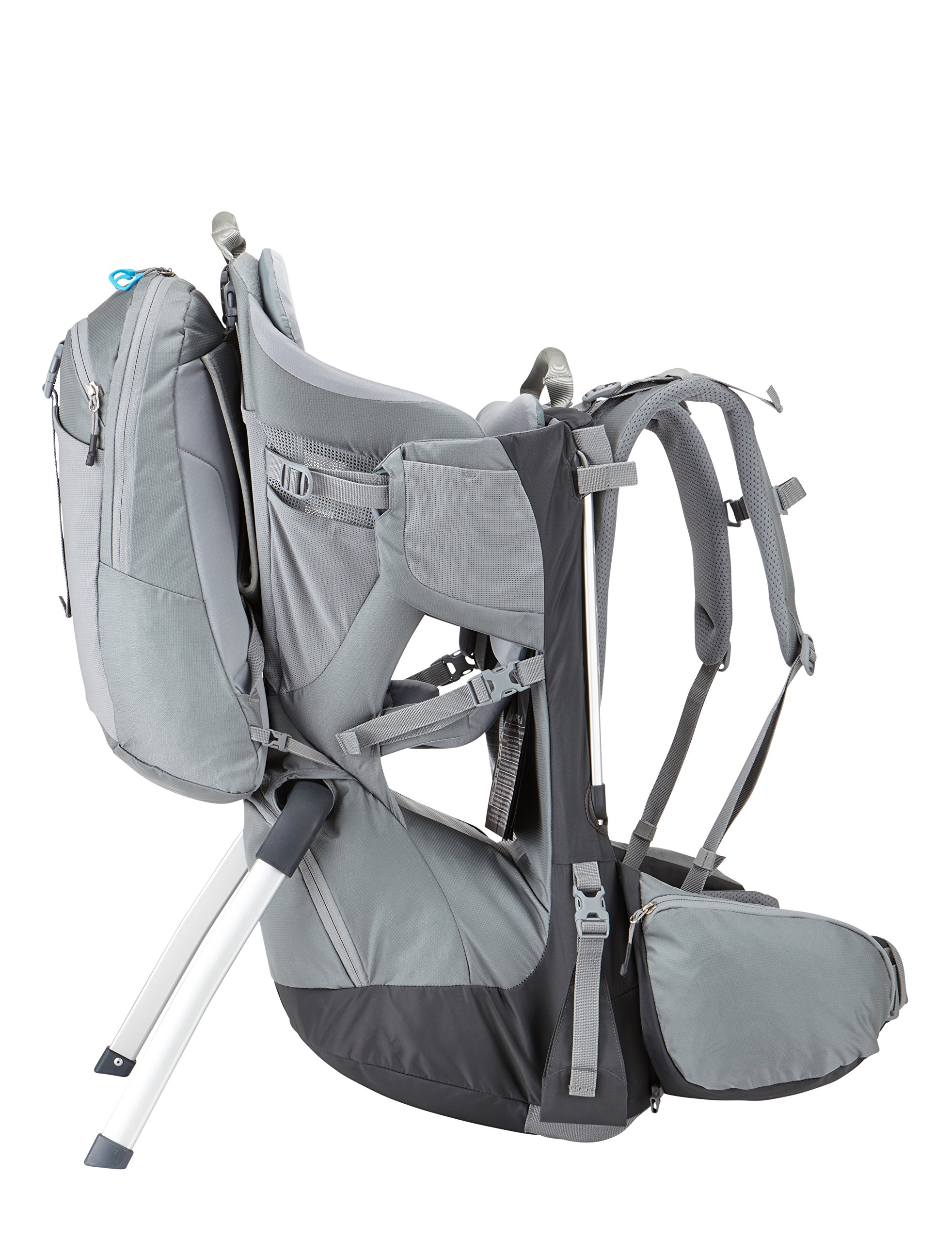 Thule Sapling Elite Child Carrier  Removable backpack and large zippered compartment store diapers, clothes and other gear Fully adjustable back panel and hip belt make the transition between parents quick and easy, Plush, height adjustable, ergonomic seat efficiently distributes the child's weight by providing inner thigh support Breathable back panel allows air to circulate around your back 6