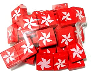 Goelx Wooden Square Beads for Beading, Jewellery Making & Art Craft Work !! Size : 15mm X 6mm - red