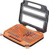 Black+Decker 50 Pieces Accessories Bit Set in Kitbox for Wood, Metal & Concrete Drilling & Screwdriving, Orange/Black - A7168