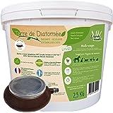 l'herbe Haute ® Terre de Diatomée Blanche Alimentaire - 2,5 kg Seau avec souffleuse - Utilisable en Agriculture Biologique -