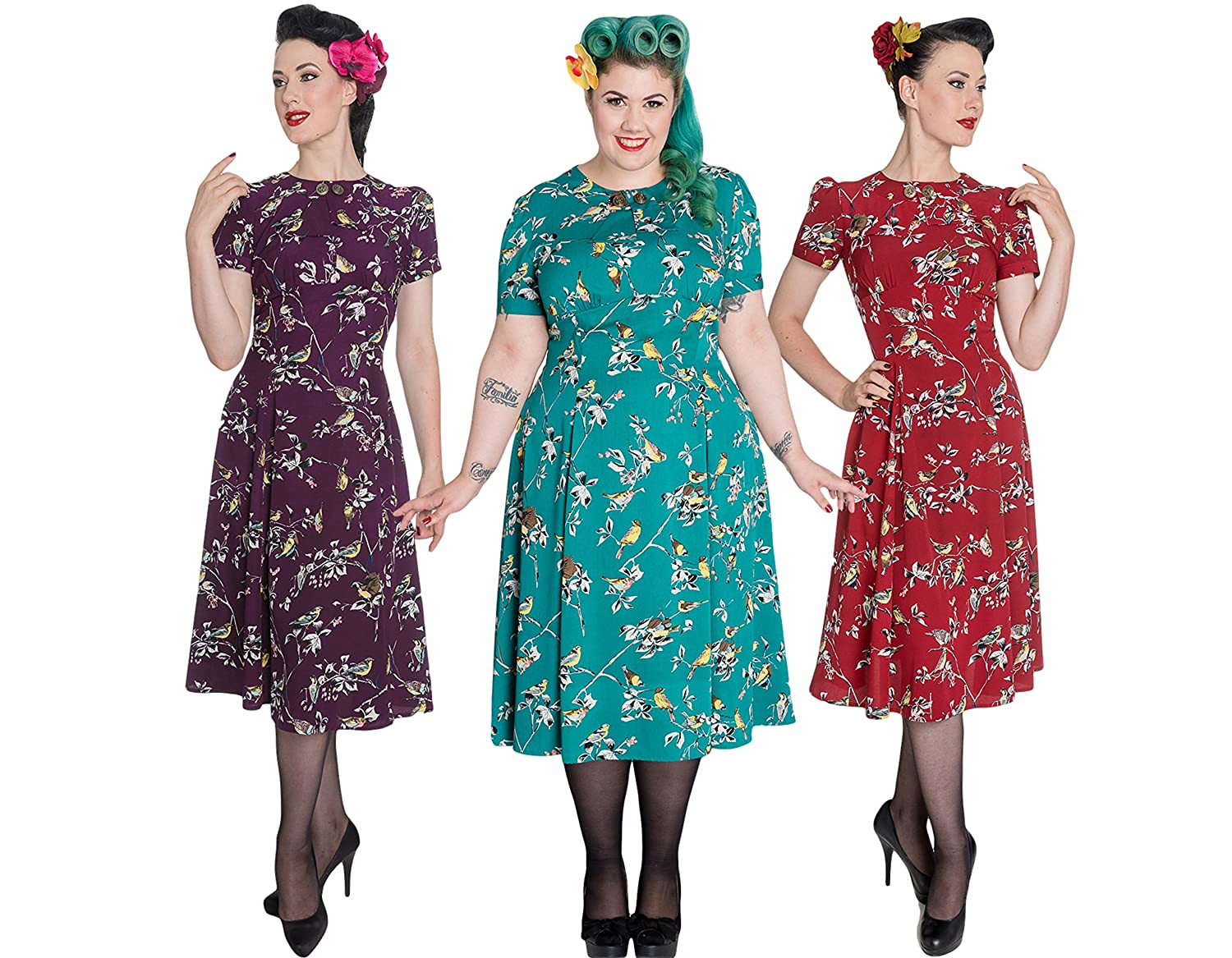 1940s Dresses | 40s Dress, Swing Dress Plus Birdy 40s 50s Tea Party Pin Up Landgirl WW2 Retro Vintage Style Dress £29.99 AT vintagedancer.com