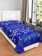 Bsb Trendz Cotton Solid Royal Blue Single Bedsheet With White Small Flower Printed 180 Tc
