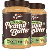 Alpino Organic Natural Peanut Butter Smooth 2 KG | Unsweetened | Made with 100% Roasted Organic Peanuts | 30% Protein | No Ad