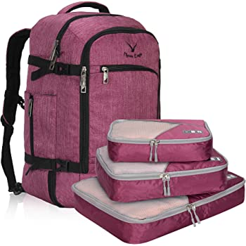b0ed6808a449 Veevan Flight Approved 40 Litre Weekend Backpack (Purple and 3PCS Packing  Cubes)