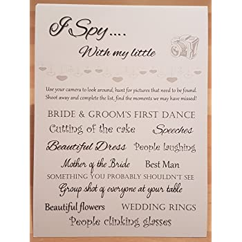 i spy camera cards string of hearts wedding table cards 10