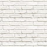 murando - Fototapete selbstklebend 10m 3D Tapete Wandtattoo dekorative Möbelfolie Dekorfolie Fotofolie Wandaufkleber Wandposter Wandsticker - Ziegel weiß Ziegelwand Ziegelmauer f-B-0229-an-a