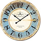 Alice's Collection - Large Vintage Round Wooden Wall Clock From MDF- The Country Cottage – Diameter 60cm
