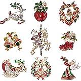 YADOCA 9 Pezzi Set Spille Natale da Donna Cristallo Spilla Pin con Strass per Abbigliamento Decorazioni Natalizie Multicolori