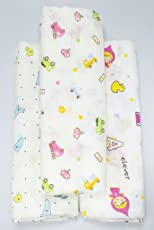 Rachna's Single Gauze Multi Print All Season Muslin Cotton Swaddle Wrapper Baby Blanket Set - 18401-100cms x 100cms - Pack of 3 (Print May Vary)